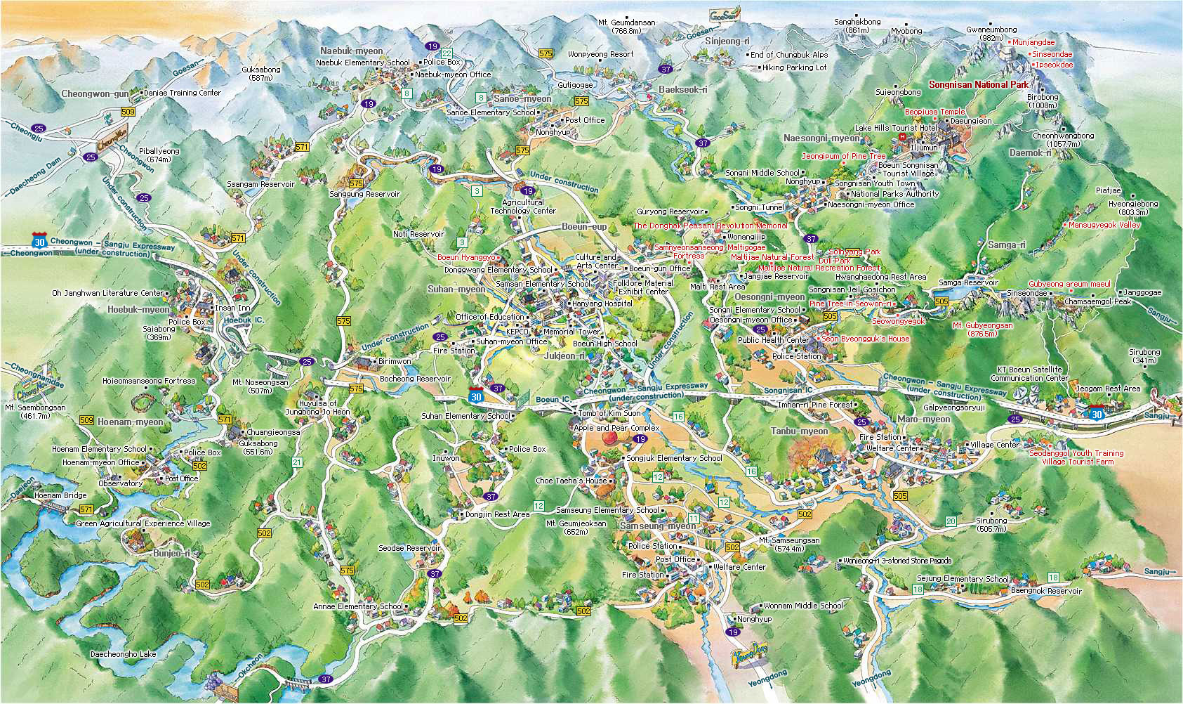 boeun travel map. The map has been developed in English